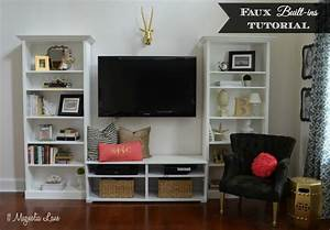 Quotfauxquot built in living room shelves tutorial with ikea for Decorating built in shelves in living room