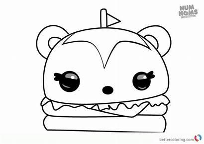Num Noms Coloring Burger Pages Draw Hammy