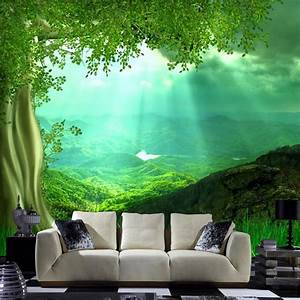 3D nature wall art setting for living room wallpaper non ...