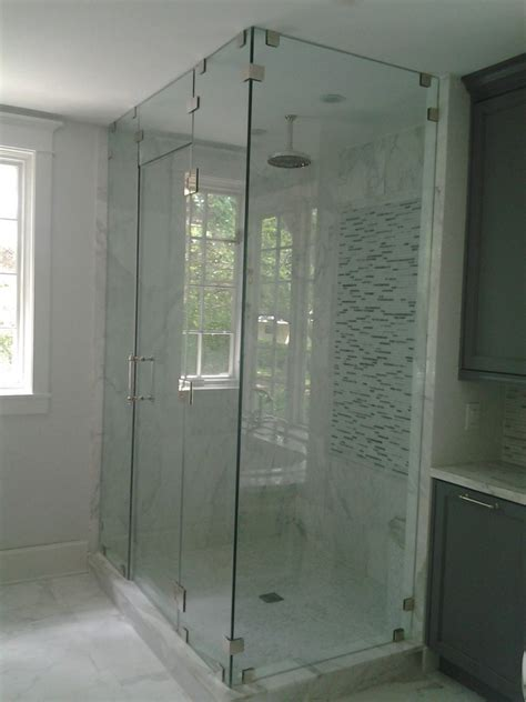 Glass Shower Enclosure Kits by Awesome Glass Shower Stall Kits With Silver Handle And