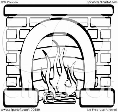 Burning Fireplace Brick Coloring Log Outline Clipart