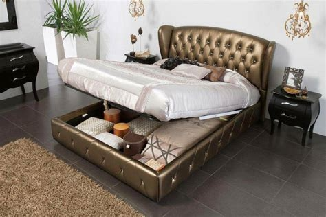 bronze leather bed  lift  storage  tufted