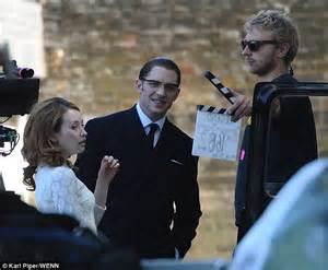 Emily Browning films scenes alongside Tom Hardy on set of ...