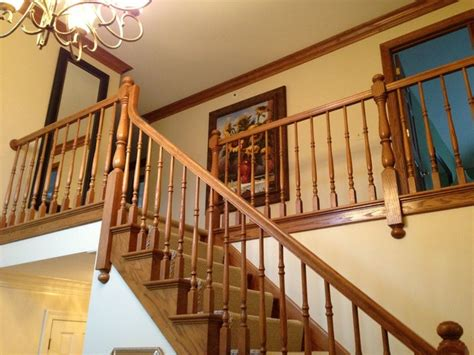 oak railing  painting spindles
