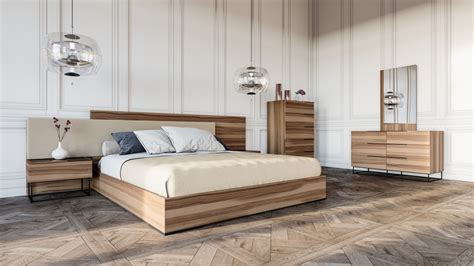 Nova Domus Matteo Italian Modern Walnut & Fabric Bedroom