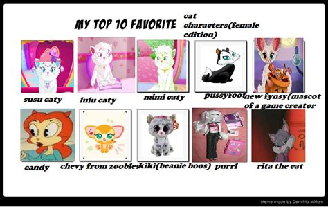 My Top Ten Favourite Cat Characters Female Edition By