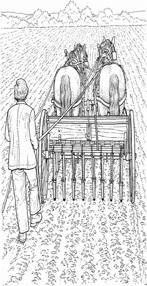 mann mit pferdewagen ausmalbild malvorlage bauernhof