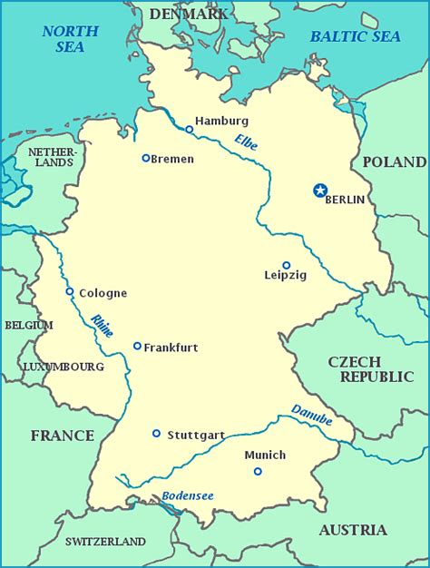 germany map map  germany showing cities rivers