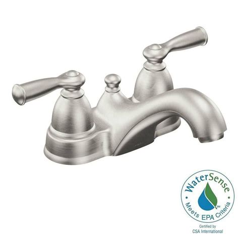 brushed nickel bathroom faucets canada moen banbury 2 handle bathroom faucet in spot resist