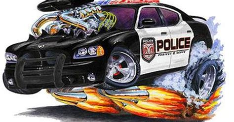 details  dodge charger police car muscle car cartoon