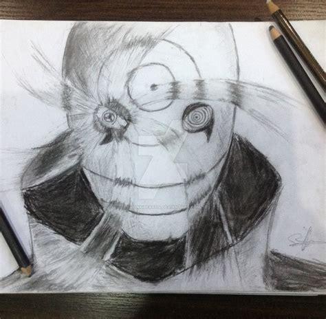 charcoal pencil drawing uchiha obito  monkibear