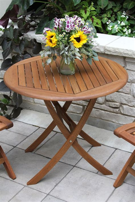 eucalyptus wood bistro table  decks patios  gardens