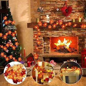 Maple, Leaves, Garland, String, Lights, Thanksgiving, Christmas, Decorations, Fall, String, Lights, With