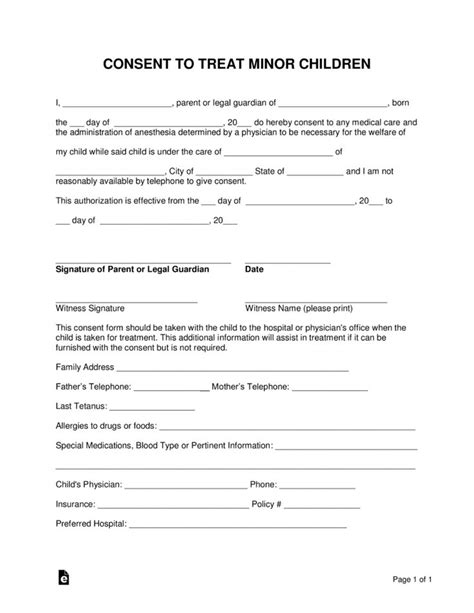 minor child medical consent form word