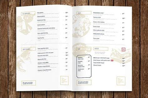 hotel menu templates ai psd docs pages