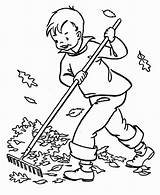 Cleaning Coloring Clean Drawing Boy Fall Bladeren Harken Autumn Kleurplaat Colouring Leaf Spring Sketch Kleurplaten Housework Herfst Leukekleurplaten Leaves Farm sketch template