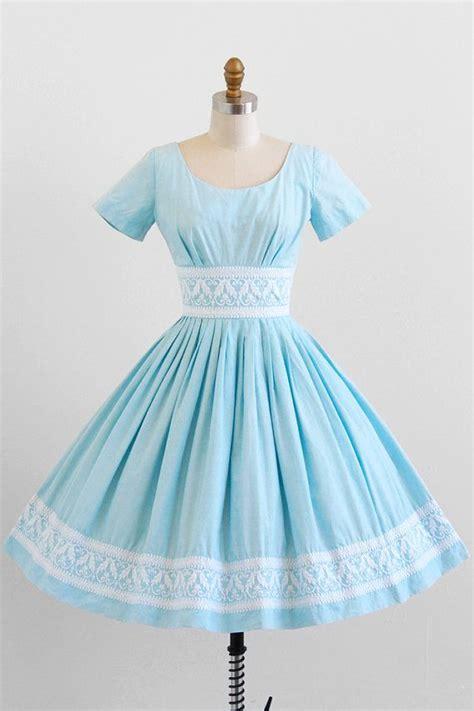 light blue vintage dress vintage 1950s dress 50s dress sky blue cotton dress