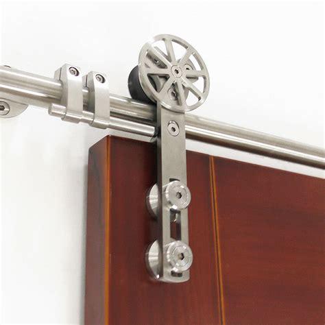 diyhd ft ft stainless steel rotatable spoke wheel sliding barn door hardware ebay