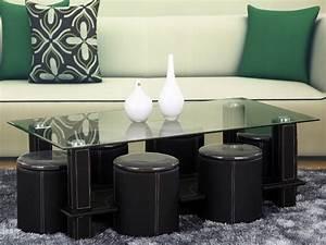 Table Basse Pouf Intégré : table basse rectangulaire en verre amanda avec poufs 58457 ~ Dallasstarsshop.com Idées de Décoration