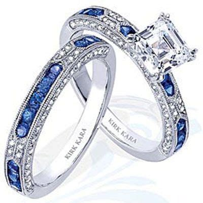sapphire engagement and wedding ring would love this for a 10 year anniversary gift my