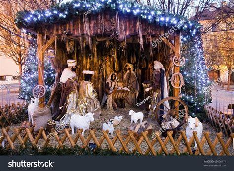 Christmas Nativity Scene With Three Wise Men Presenting