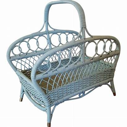 Wicker Basket Magazine Wood Dovetail Collectibles