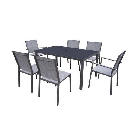 Salon de jardin Denver acier gris anthracite 1 table + 4 chaises + 2 fauteuils | Leroy Merlin
