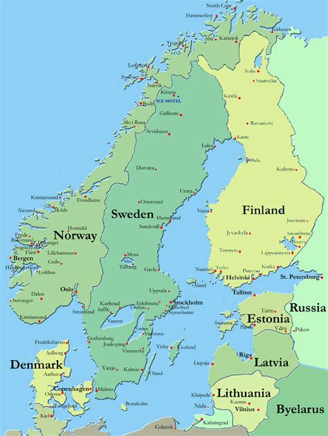 map  scandinavia countries region map  europe