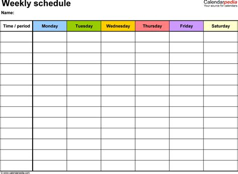 weekly schedule templates excel templates