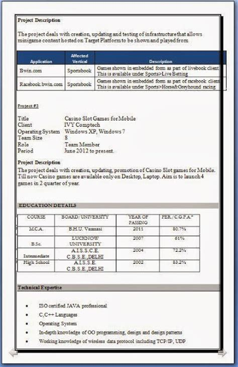 Sle Resume For Experienced Candidates Pdf by Experience Candidate Resume Format 28 Images