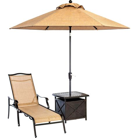 hanover outdoor monaco chaise lounge chair with umbrella