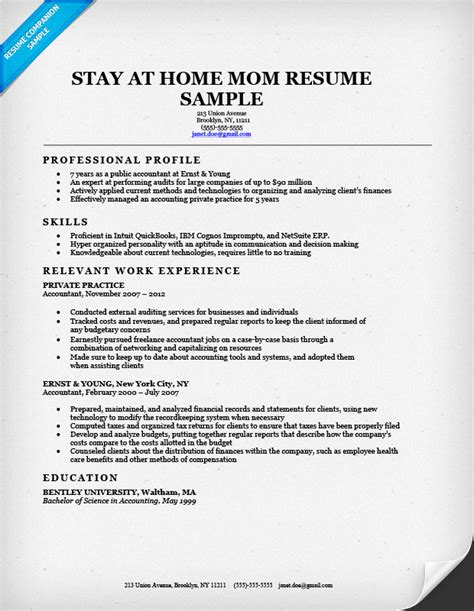 sample stay  home mom resume  job resume