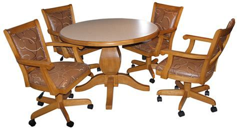 Swivel dining room chairs with casters, kitchen table and