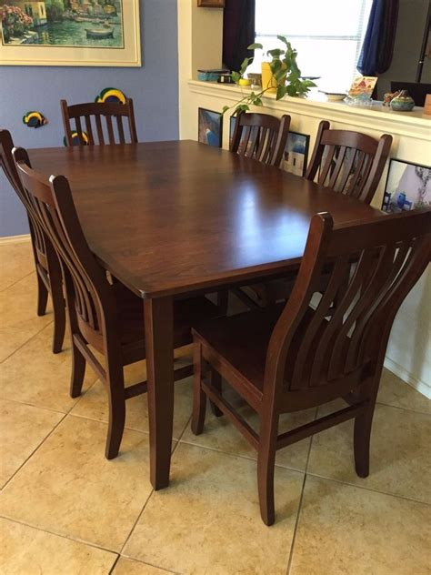 amish cherry wood custom  dining table   chairs ebay