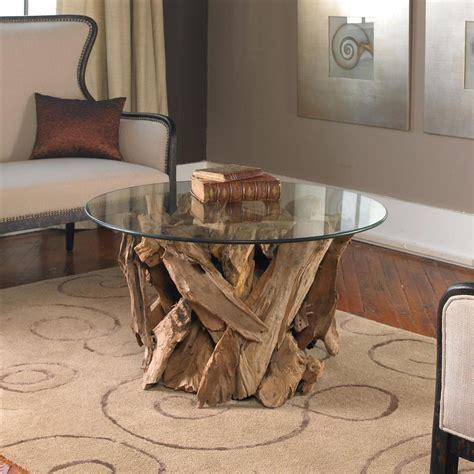 round coastal coffee table plymouth coastal beach teak driftwood round glass coffee