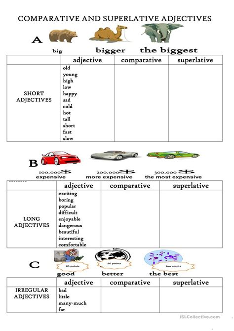 comparative and superlative adjectives worksheet free esl printable worksheets made by teachers