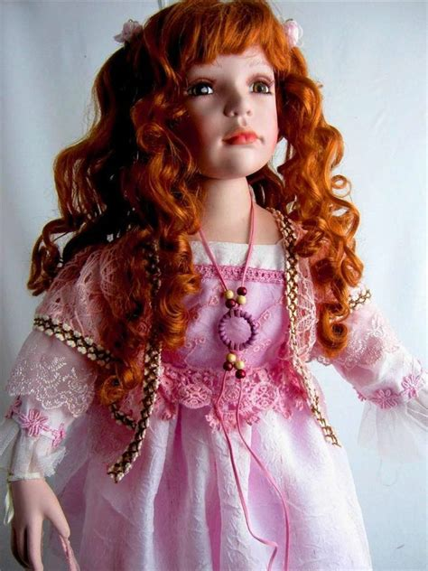 porcelain dolls porcelain doll pink dress rare collectible 28 h limited edition