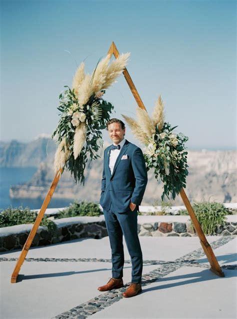 bohemian grecian wedding  santorini greece tie