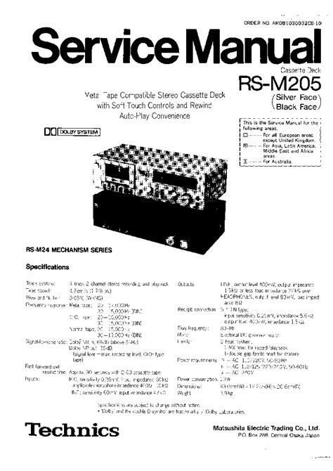 Technics Rsm205 Sm 2 Service Manual Download, Schematics