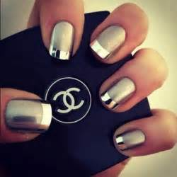 White polish during french manicure for a silver metallic nail paint