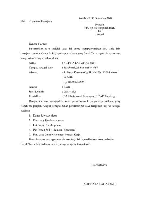 10 surat lamaran kerja formal contoh lamaran kerja dan
