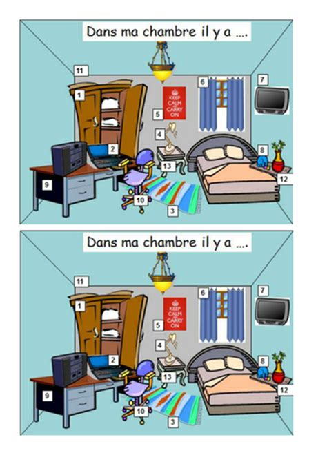 ma chambre dans ma chambre by ali20 teaching resources tes
