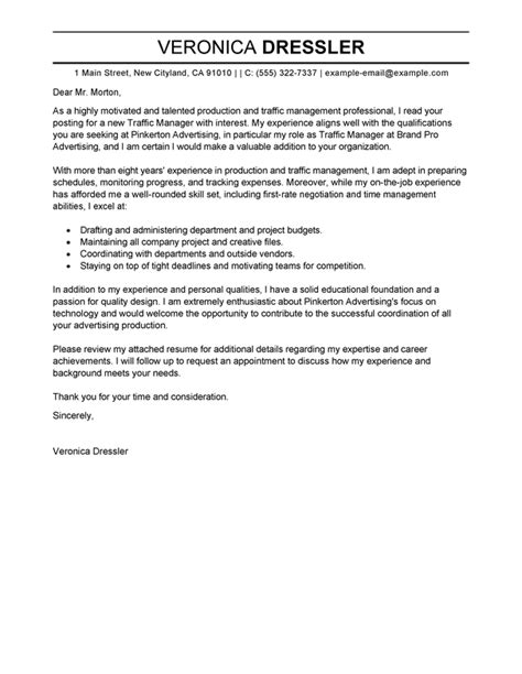 best traffic and production manager cover letter exles