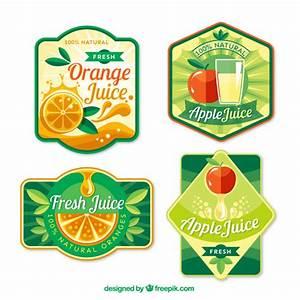 Fruit juices labels in flat design Vector | Premium Download