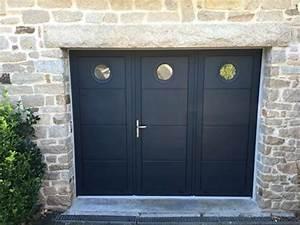 Porte De Garage 3 Vantaux : porte de garage battante 3 vantaux avec hublots aluminium56 ~ Dode.kayakingforconservation.com Idées de Décoration