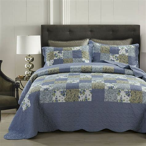 Quilted Coverlet Set by Dada Bedding Blue Berry Cottage Floral Patchwork Quilted