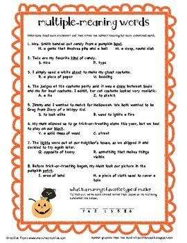 multiple meaning words halloween fourth grade fun multiple meaning words receptive