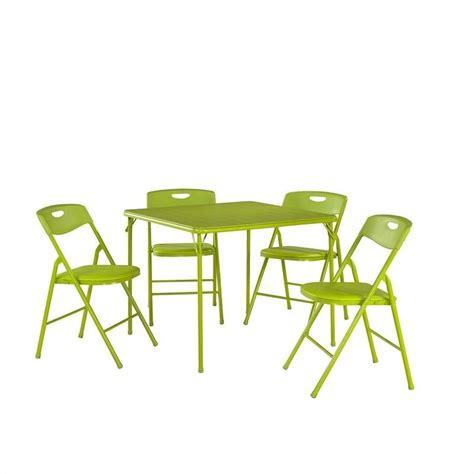 cosco 5 piece vinyl folding table set in apple green