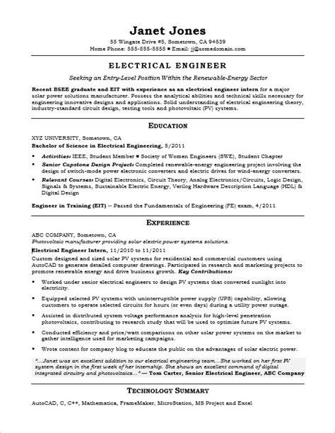 entry level electrical engineer sample resume monstercom