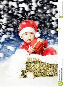 Baby Boy Card Design Cute Baby With Christmas Gift Royalty Free Stock